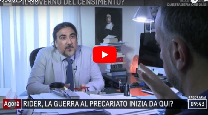 Alessandro Brunetti intervento ad Agorà sui diritti ai Riders